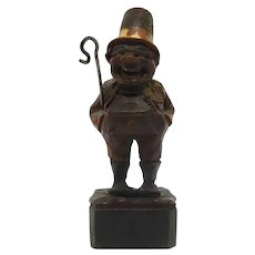 Thimble, Needle Holder Black Forest Carving of Man