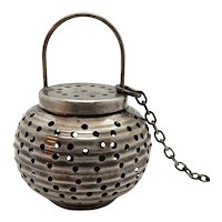 Sterling Tea Strainer Figural Chinese Lantern