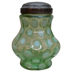 Sugar Shaker Coinspot Green Opalescent Northwood