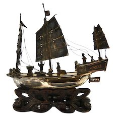 Chinese Sterling Silver Sailing Ship Model Antique