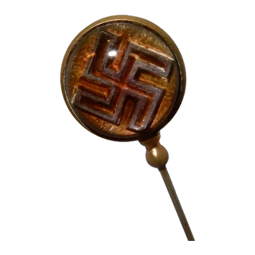 Antique Hatpin Native American Symbol Reverse Swastika in Glass