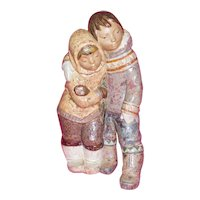 Lladro Gres Finish Eskimo Boy & Girl Huge 16 inch