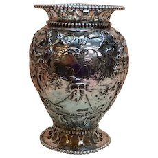 Dutch Silver Vase with Scenery, 19th c.
