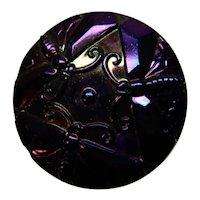 Carnival Glass Hatpin Dragonflies Purple iridescence