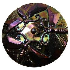 Carnival Glass Hatpin Dragonflies Purple iridescence