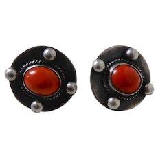 Sterling and Coral Screw Back Earrings L. Kryzak mid century