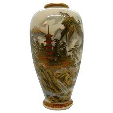 Satsuma vase with Temple and Mount Fuji