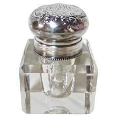 Inkwell Sterling Lid Cut Glass 1890's