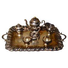 Sterling Miniature Tea Set on tray Mexican