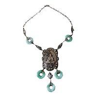 Art Deco necklace Czech Jade Glass with Buddha