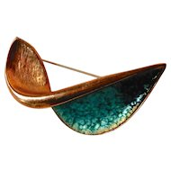 Renoir Copper Enamel Abstract Aerodynamic Pin