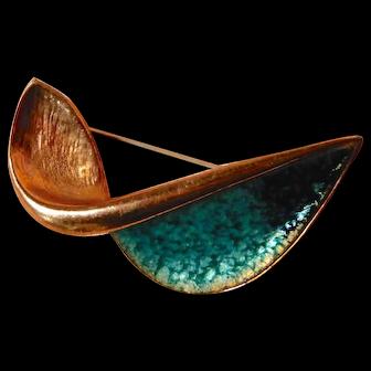 Renoir Copper Enamel Abstract Aerodynamic Pin