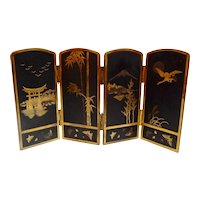 Japanese Mixed Metals Folding Screen Komai Style
