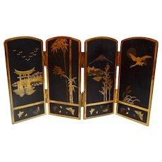 Japanese Mixed Metals Folding Screen Komai Style