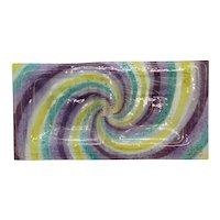 Higgins Art Glass Purple, Yellow, Blue Double Tray
