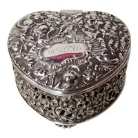 Silver Plate Heart Shaped Dresser Box Pairpoint 1894