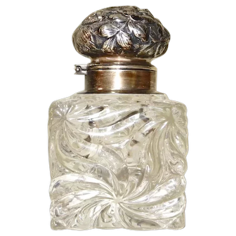 Shiebler Sterling top Baccarat glass inkwell, 19th c.