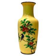 Japanese Cloisonné Ando Yellow vase Bluebird