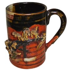 Sumida Gawa Mug 7 monkeys Japanese Pottery