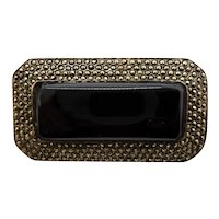 Sterling Marcasite Pin Large Black Onyx