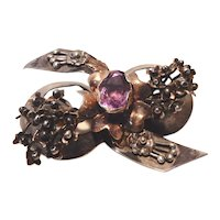 Hobe' Sterling and 14K Floral Bow Pin Amethyst