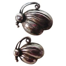 Mexican Sterling Pair Butterfly Pins Victoria