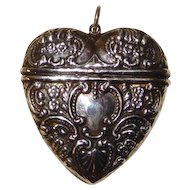 Sterling heart box for wearing on chatelaine or chain, Victorian
