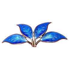 David Andersen Blue Enamel Pin 4 Leaves