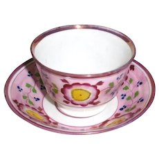 Pink Lustre 1830's Handleless cup and saucer