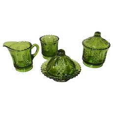 Toy Glass Green Diamond Panels Table Set EAPG 1890's