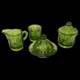 Toy Glass Green Diamond Panels Table Set EAPG 1890's