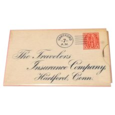 Celluloid Stamp Case Advertising Travelers Insurance