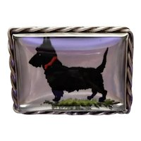 Essex Crystal Scotty Dog Sterling Pin Vincent Simone