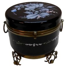 Black Glass Dresser Box Victorian Enamel Rose