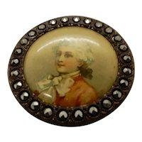 Victorian Button Celluloid Portrait Cut Steel