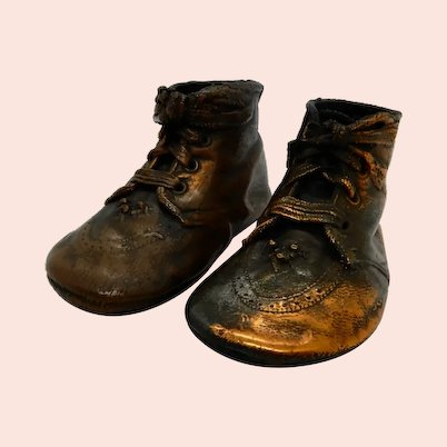 Bronzed Copper Baby Shoes, Pair