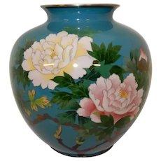 Cloisonne' Japanese Vase Peonies Silver Wires
