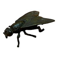 Match Holder Box Figural Fly, Bronze-brass