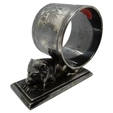 Victorian Figural Silver Plate Napkin RIng Lion, with name Anthony
