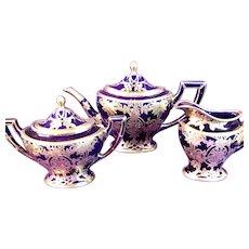 Lenox Silver Overlay Tea Set, Cobalt Blue