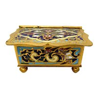 French Champleve' Enamel Double Stamp Box