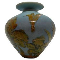 Ramski Cameo Glass Hummingbird Vase  1993 Studio Glass
