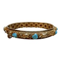 Chinese Gilt Silver  Filigree Turquoise Bracelet  with Turtles