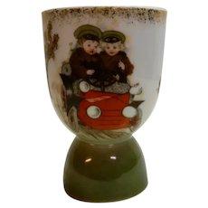Porcelain Eggcup Children in 1915 Car