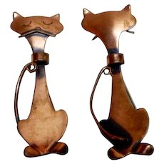 Orb Pair of Copper Cat Pins front and back