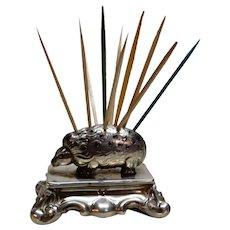 Austrian Silver Figural Toothpick Holder Porcupine