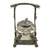 Victorian Silver Plate Inkwell Figural Dogs and Frog