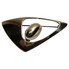 N.E. From Denmark Abstract Sterling Pin Brooch