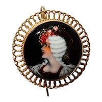 French Enamel  Portrait Earrings Gold