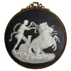 Limoges Pate Sur Pate Plaque Chariot with Horses